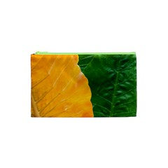 Wet Yellow And Green Leaves Abstract Pattern Cosmetic Bag (xs)