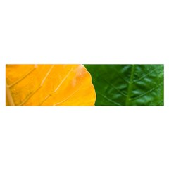Wet Yellow And Green Leaves Abstract Pattern Satin Scarf (oblong)