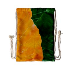Wet Yellow And Green Leaves Abstract Pattern Drawstring Bag (small)
