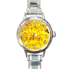 Yellow Abstract Background Round Italian Charm Watch