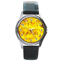 Yellow Abstract Background Round Metal Watch