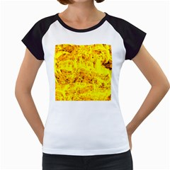 Yellow Abstract Background Women s Cap Sleeve T