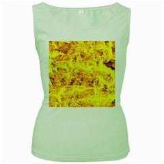 Yellow Abstract Background Women s Green Tank Top