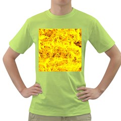 Yellow Abstract Background Green T-Shirt