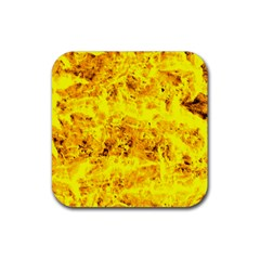Yellow Abstract Background Rubber Square Coaster (4 Pack)