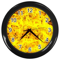 Yellow Abstract Background Wall Clocks (black)