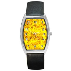 Yellow Abstract Background Barrel Style Metal Watch