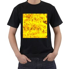 Yellow Abstract Background Men s T Shirt (black) (two Sided)