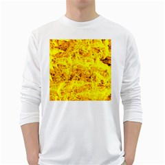 Yellow Abstract Background White Long Sleeve T Shirts