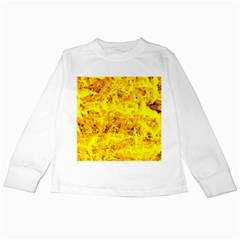 Yellow Abstract Background Kids Long Sleeve T Shirts