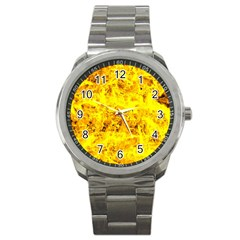 Yellow Abstract Background Sport Metal Watch