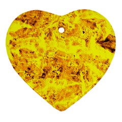 Yellow Abstract Background Heart Ornament (two Sides)