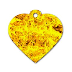 Yellow Abstract Background Dog Tag Heart (one Side)