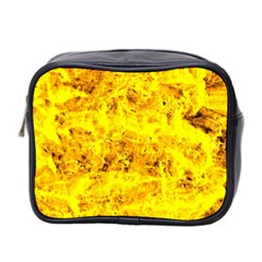 Yellow Abstract Background Mini Toiletries Bag 2 Side