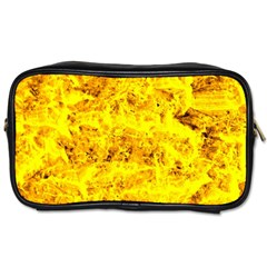 Yellow Abstract Background Toiletries Bags 2 Side