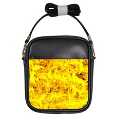 Yellow Abstract Background Girls Sling Bags