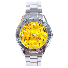 Yellow Abstract Background Stainless Steel Analogue Watch