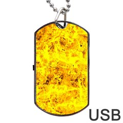 Yellow Abstract Background Dog Tag Usb Flash (one Side)