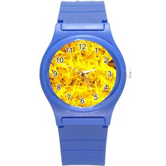 Yellow Abstract Background Round Plastic Sport Watch (s)