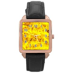 Yellow Abstract Background Rose Gold Leather Watch