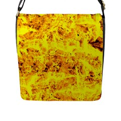 Yellow Abstract Background Flap Messenger Bag (l)
