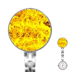 Yellow Abstract Background Stainless Steel Nurses Watch