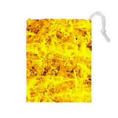 Yellow Abstract Background Drawstring Pouches (Large)