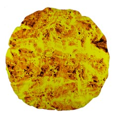 Yellow Abstract Background Large 18  Premium Flano Round Cushions