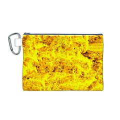 Yellow Abstract Background Canvas Cosmetic Bag (m)