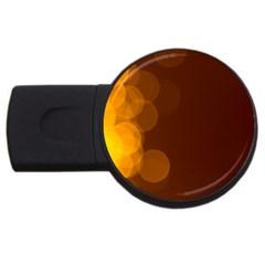 Yellow And Orange Blurred Lights Orange Gerberas Yellow Bokeh Background Usb Flash Drive Round (2 Gb)