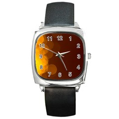 Yellow And Orange Blurred Lights Orange Gerberas Yellow Bokeh Background Square Metal Watch