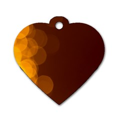 Yellow And Orange Blurred Lights Orange Gerberas Yellow Bokeh Background Dog Tag Heart (two Sides)