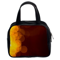 Yellow And Orange Blurred Lights Orange Gerberas Yellow Bokeh Background Classic Handbags (2 Sides)