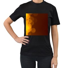 Yellow And Orange Blurred Lights Orange Gerberas Yellow Bokeh Background Women s T Shirt (black)