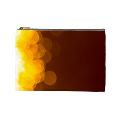 Yellow And Orange Blurred Lights Orange Gerberas Yellow Bokeh Background Cosmetic Bag (large)