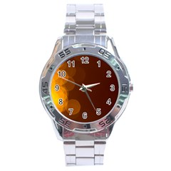 Yellow And Orange Blurred Lights Orange Gerberas Yellow Bokeh Background Stainless Steel Analogue Watch
