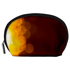 Yellow And Orange Blurred Lights Orange Gerberas Yellow Bokeh Background Accessory Pouches (large)
