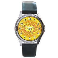 Yellow Seamless Psychedelic Pattern Round Metal Watch