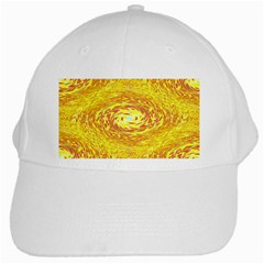 Yellow Seamless Psychedelic Pattern White Cap