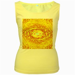Yellow Seamless Psychedelic Pattern Women s Yellow Tank Top