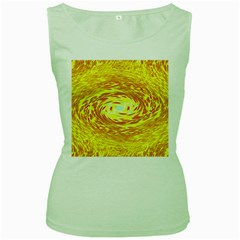Yellow Seamless Psychedelic Pattern Women s Green Tank Top