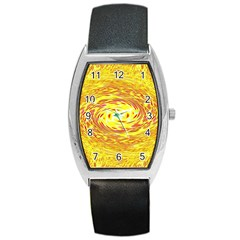 Yellow Seamless Psychedelic Pattern Barrel Style Metal Watch