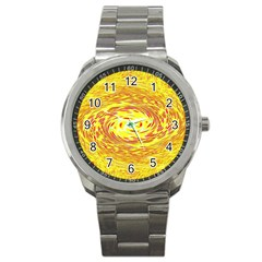 Yellow Seamless Psychedelic Pattern Sport Metal Watch