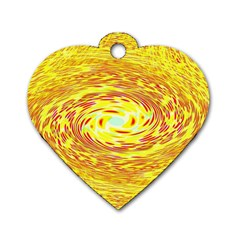 Yellow Seamless Psychedelic Pattern Dog Tag Heart (two Sides)