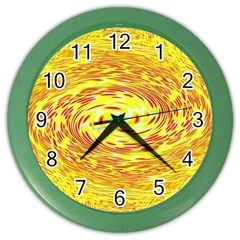 Yellow Seamless Psychedelic Pattern Color Wall Clocks