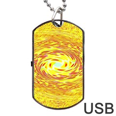 Yellow Seamless Psychedelic Pattern Dog Tag Usb Flash (one Side)