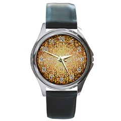 Yellow And Black Stained Glass Effect Round Metal Watch