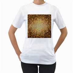 Yellow And Black Stained Glass Effect Women s T-Shirt (White) (Two Sided)