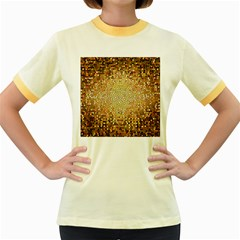 Yellow And Black Stained Glass Effect Women s Fitted Ringer T Shirts