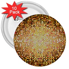 Yellow And Black Stained Glass Effect 3  Buttons (10 Pack)